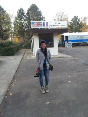 Anastasia in front of the American guardhouse, French Duty Train to the right