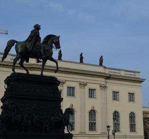 Statue of Frederick II, Humboldt University background
