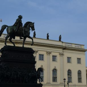 Statue of Frederick II, Humboldt University background