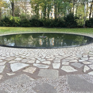 The reflection pool at the Memorial to the Roma and Senti