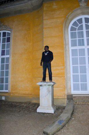 Christian on a pedestal-Greek god style