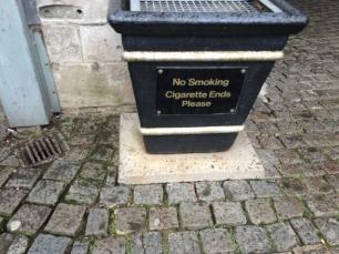 No smoking cigarette ends?