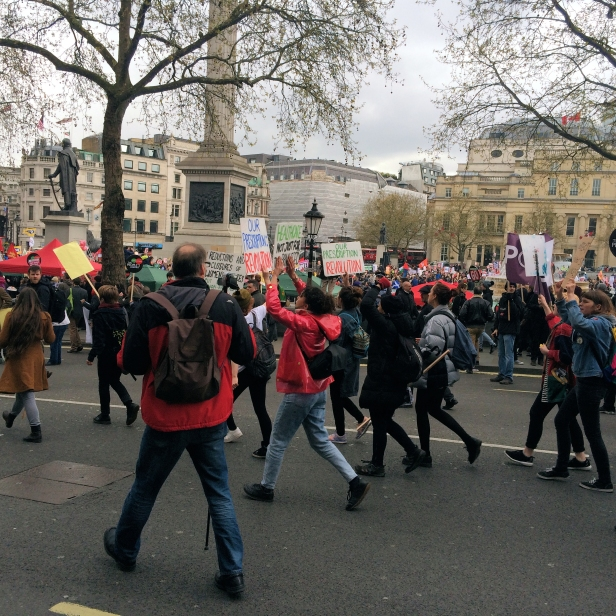 Protesters at Trafalgar Square